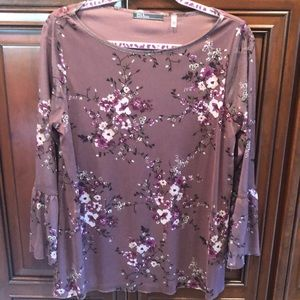 Purple Floral Blouse w/ Sheer Bell Sleeves Size L
